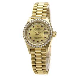 ロレックス 69138 デイトジャスト 10Pルビー  腕時計 OH済レディース