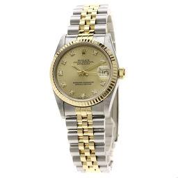 ロレックス 68273G デイトジャスト 10Pダイヤモンド コンビ 腕時計 OH済ボーイズ