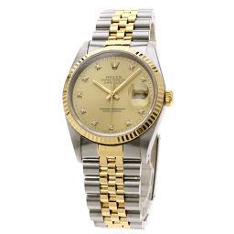 ロレックス 16233G デイトジャスト 10Pダイヤモンド 腕時計 OH済メンズ