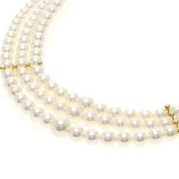 ミキモト 真珠/ベビーパール/ダイヤモンド 3連 ネックレスレディース
