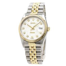 ロレックス 16233G デイトジャスト 10Pダイヤモンド コンビ 腕時計メンズ
