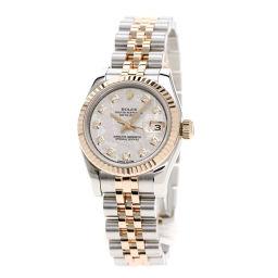 ロレックス 179171G デイトジャスト 10Pダイヤモンド メテオライト 腕時計レディース