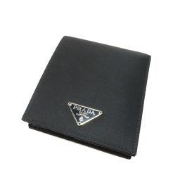 プラダ ロゴプレート 二つ折り財布(小銭入れなし)レディース