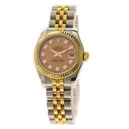 ロレックス 179173OPG デイトジャスト 10Pダイヤモンド 腕時計レディース