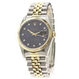 Rolex 16233G Datejust 10P Diamond Watch Mens
