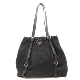 Prada logo plate tote bag ladies
