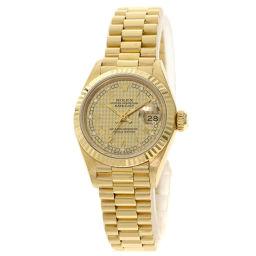 ロレックス 69178G デイトジャスト 千鳥格子 10P ダイヤモンド 腕時計 OH済レディース