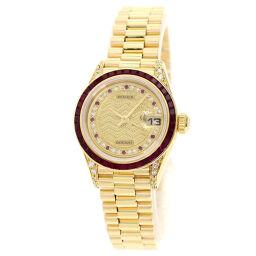 ロレックス 69028RU デイトジャスト ミリヤードダイヤルビー バケットルビーベゼル 腕時計 OH済レディース