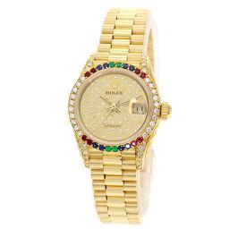 ロレックス 69038 デイトジャスト クラウンコレクションレインボー 腕時計 OH済レディース