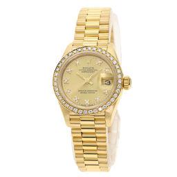 ロレックス 69138G デイトジャスト 10P ダイヤモンド ベゼルダイヤモンド 腕時計レディース