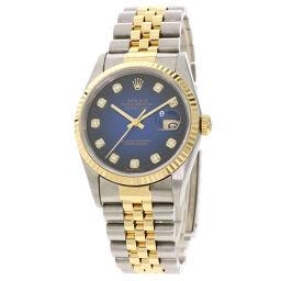 ロレックス 16233G デイトジャスト 10P ダイヤモンド 腕時計 OH済メンズ