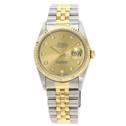 Rolex 16233G Datejust 10P diamond watch OH already men