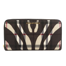 Burberry Logo Nova Check Zebra Pattern Long Wallet (with Coin Purse) Ladies
