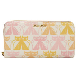 Miu Miu 5ML506 Logo Cat Motif Round Zipper Long Wallet (with Purses) Ladies