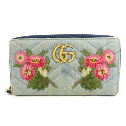 グッチ 443123 GGマーモント フラワー刺繍 長財布(小銭入れあり)レディース