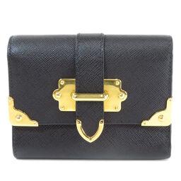 プラダ 三つ折り財布 ベルトモチーフ サフィアーノ 二つ折り財布(小銭入れあり)レディース