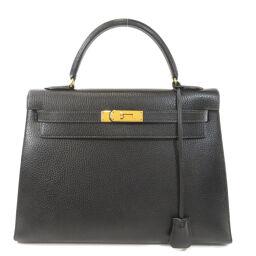 エルメス ケリー32 外縫い アルデンヌ ゴールド金具 黒 ブラック ハンドバッグレディース