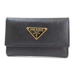 Prada logo plate key case ladies'