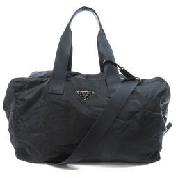Prada logo plate Boston bag unisex