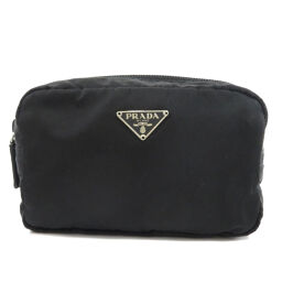 Prada logo plate makeup pouch ladies
