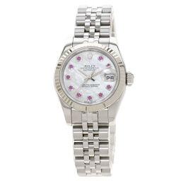 <html>    <body>   ロレックス 179174NGR デイトジャスト 10P ルビー 腕時計 OH済レディース        </body> </html>