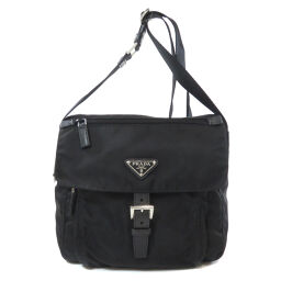 Prada logo plate shoulder bag ladies