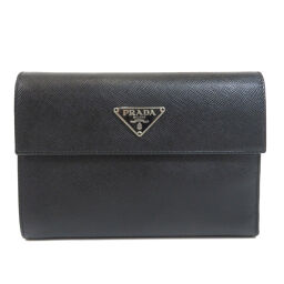 Prada Safiano logo plate two-fold wallet (with coin purse) ladies