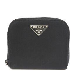 Prada logo plate coin case ladies'