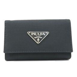 Prada logo plate key case unisex