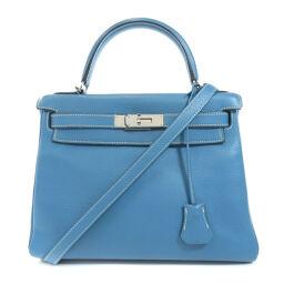 Hermes Kelly 28 Inner Stitch Silver Hardware Blue Gene Handbag Ladies