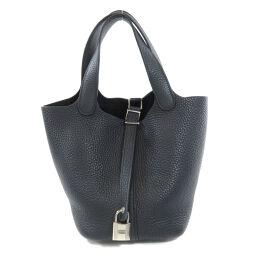 Hermes Picotan Lock PM Silver Hardware Black Handbag Ladies