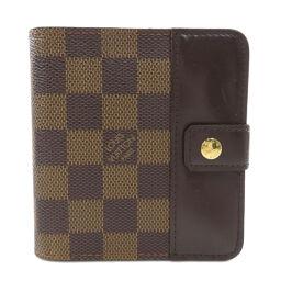 ルイヴィトン N61668 コンパクトジップ ダミエ エベヌ 二つ折り財布(小銭入れあり)レディース