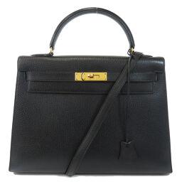 Hermes Kelly 32 Black Black Gold Hardware Outer Sewing Handbag Ladies