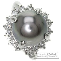 SELECT JEWELRY【セレクトジュエリー】 黒蝶真珠・グレーパール/ダイヤモンド リング・指輪 プラチナ