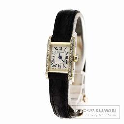 CARTIER【カルティエ】 ミニ タンク ベゼルサイドダイヤモンド 腕時計 K18イエローゴールド/アリゲータ