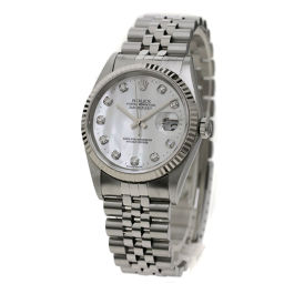 ロレックス 16234NG デイトジャスト 10Pダイヤモンド 腕時計 OH済メンズ