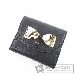 CHLOE【クロエ】 リボンモチーフ 二つ折り財布(小銭入れあり) レザー レディース 【中古】