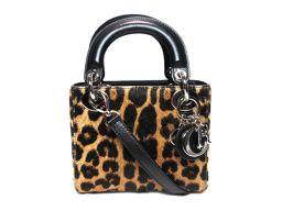 Dior クリスチャン・ディオール レディーディオール ショルダーバッグ ミニハンドバッグ ゴールド  豹柄  レ