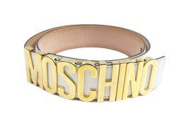 MOSCHINO モスキーノ ベルト ホワイト×ゴールド レザー ×ゴールドメタル 【中古】【ランクA】 レデ