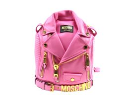MOSCHINO モスキーノ リュックサック バッグパック ピンク レザー ×ゴールド金具 【新品同様】 レディー