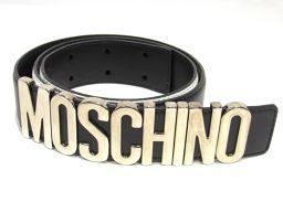 MOSCHINO モスキーノ ベルト ブラックxホワイト レザー 【新品同様】 レディース