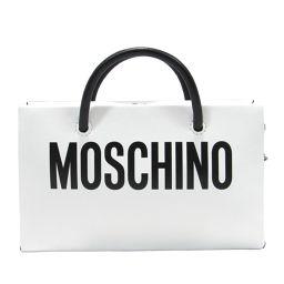 MOSCHINO モスキーノ チェンーウォレット チャーンショルダーバッグ クラッチバッグ ホワイトxブラック レ