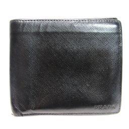 PRADA プラダ 二つ折財布 ブラック サフィアーノレザー 【中古】【ランクB】 メンズ