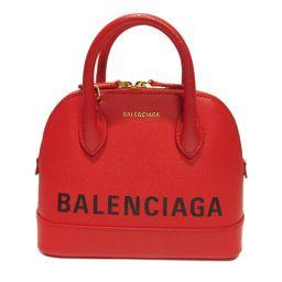 BALENCIAGA バレンシアガ ビルトップハンドル XXS 2wayショルダーバッグ レッド レザー 【中古】
