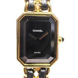 CHANEL シャネル プルミエールL 腕時計 ウォッチ ゴールドxブラック レザー×ゴールドメッキ 【中古】【ラ