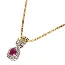 JEWELRY ジュエリー ルビー ダイヤモンド ネックレス レッドxクリアーxゴールド K18YG(750) イ