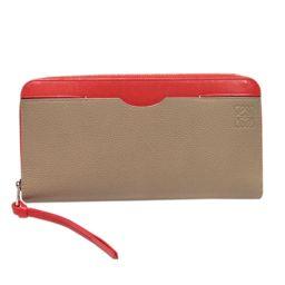 LOEWE Loewe Round Fastener Purse Beige × Red Leather [Used] [Rank A] Ladies