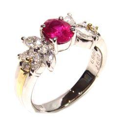 JEWELRY ジュエリー ルビーリング 指輪 レッド×クリアー×シルバー×ゴールド K18YG(750) イエロ