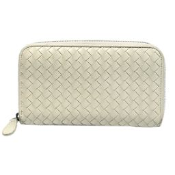 BOTTEGA VENETA Intrecciato round zipper wallet ivory leather