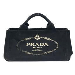 PRADA Prada Kanapa Tote Bag Tote Bag Black Canvas [Used] [Rank B] ​​Ladies